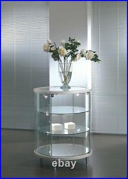 Vetrina Vetrinetta Espositore Display Showcase rotonda vetro cristallo curvo