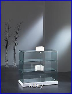 Vetrina bassa Vetrinetta Espositore Display Showcase Banco ecopelle leather