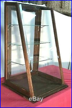 Vintage 3 Ft Counter Top Oak General / Country Store Showcase / Display Case