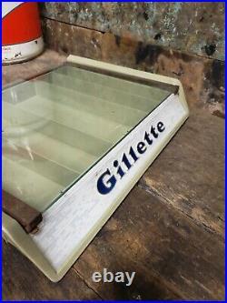 Vintage Gillette Razor Advertising Case 1956 Showcase Store Display Collector