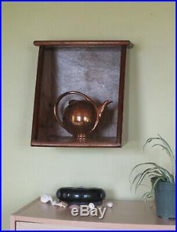 Vintage Handmade Wood & Glass Hinged Hanging Display Showcase Shadowbox Shelf