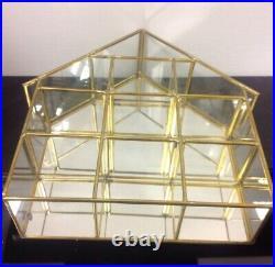 Vtg Brass Glass Mirror Curio House Display Shelf Miniatures Showcase Wall Hang