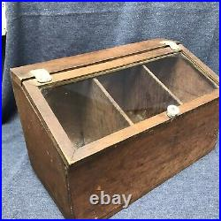 Wood And Glass Vintage Showcase Country General Store Counter Top Display