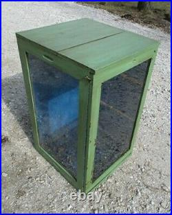Wooden Framed Glass Vintage Showcase Country General Store Counter Top Display e